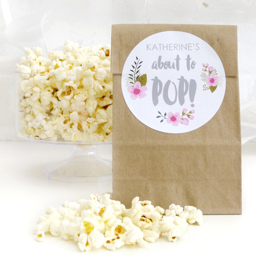 Personalised 'About to Pop!' Floral Baby Shower Stickers
