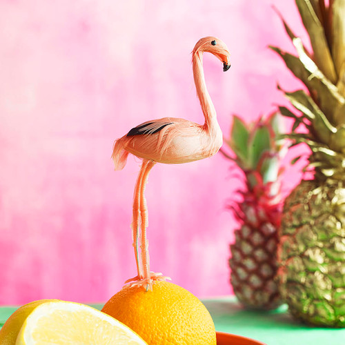 Miniature Pink Flamingo Tropical Party Cake Topper Decoration