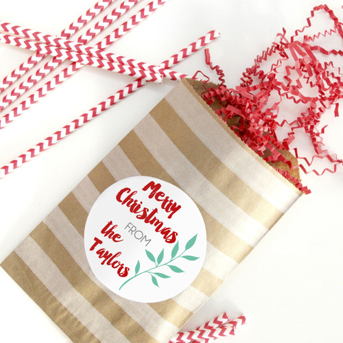 Personalised Christmas Leaf Stickers for Gifts