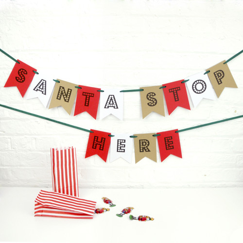 Santa Stop Here Christmas Bunting Decoration
