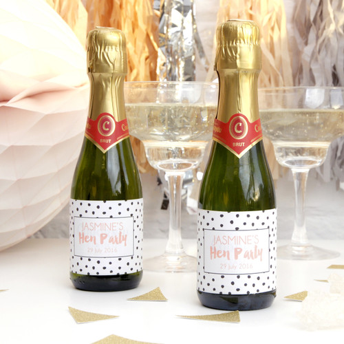 Personalised Hen Party Polka Dot Bottle Favour Labels