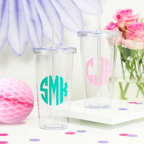 Personalised Monogram Drinks Tumbler for Smoothies, Frappucinos and Juices