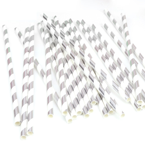 Metallic Silver Stripe Paper Straws for Weddings, Birthdays, Hen Parties and Baby Showers.