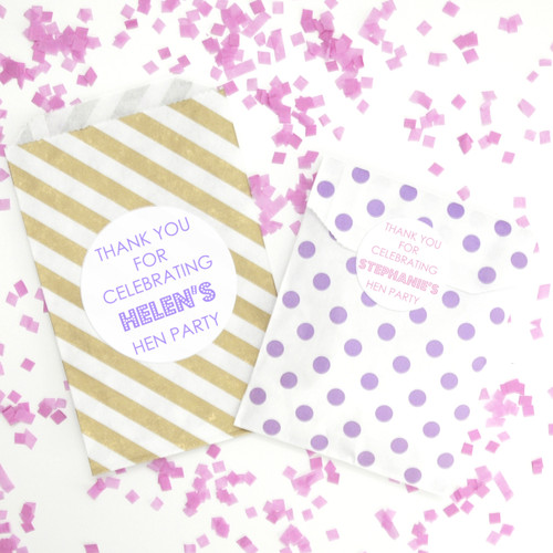 Personalised Hen Party Stickers for Gift Bags