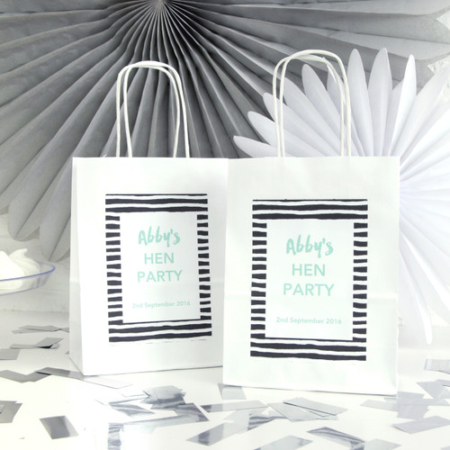 Personalised Monochrome Stripe Hen Party Bag