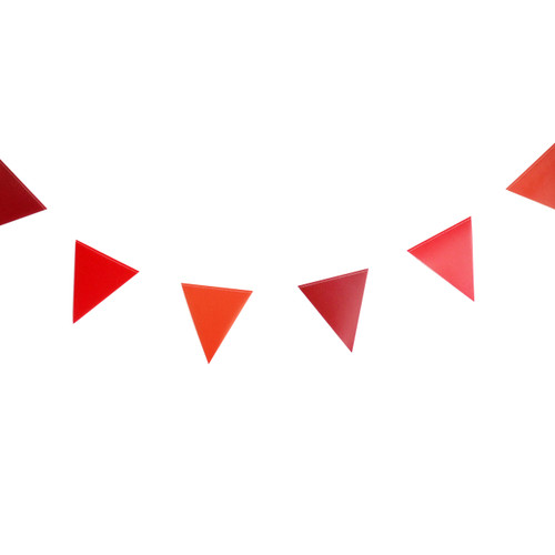 Red paper party bunting for birthdays, weddings and garden parties