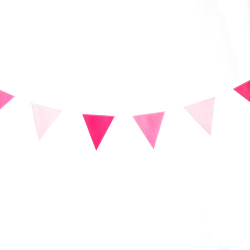 Pink paper party bunting for birthdays, weddings and garden parties