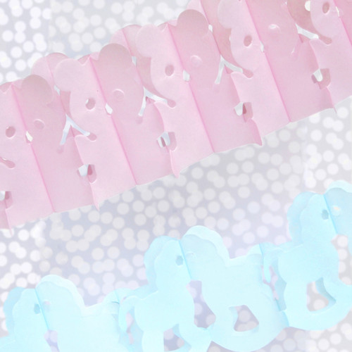 Blue and pink baby shower rocking horse garland for parties, showers and christenings