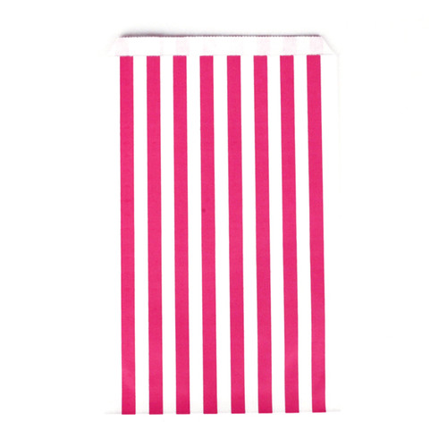 Dark Pink Striped Party Bags