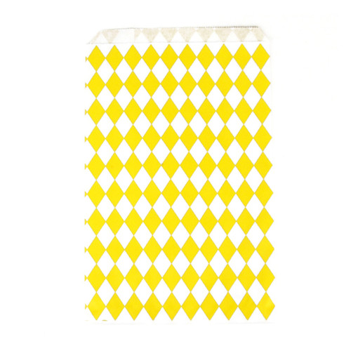 Stylish yellow diamond geometric paper party bags for childrens birthday parties, wedding favours, baby showers and hen parties