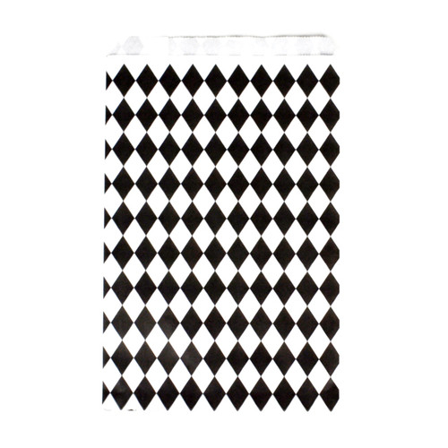 Stylish black diamond geometric paper party bags for childrens birthday parties, wedding favours, baby showers and hen parties