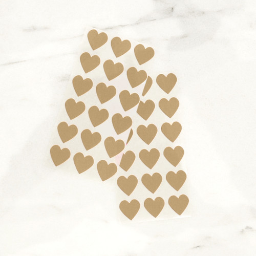Kraft brown heart stickers for wedding favours, gift wrap and craft projects