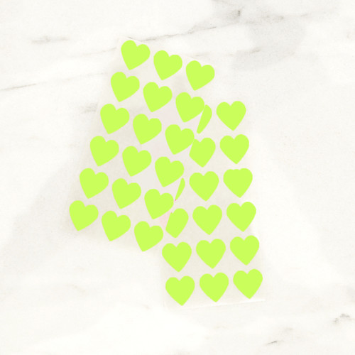 Neon green heart stickers for wedding favours, gift wrap and craft projects