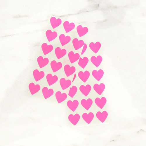 Neon pink heart stickers for wedding favours, gift wrap and craft projects