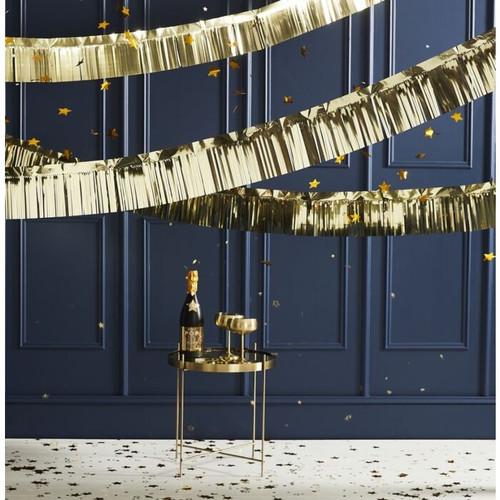 Metallic gold fringe tassel garland festooning for glam and stylish birthday parties, Christmas and gatsby celebrations.