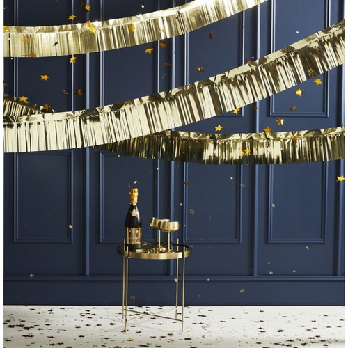 Metallic gold fringe tassel garland festooning for glam and stylish birthday parties, Christmas and gatsby celebrations.