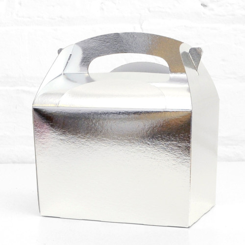 Silver food treat box for birthday party snacks, picnics, goodie bags, gifts and street food.