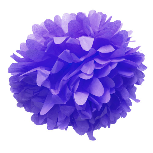 Purple tissue paper pom pom decoration for birthday parties, weddings, hen dos and baby showers