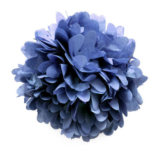 Navy tissue paper pom pom decoration for birthday parties, weddings, hen dos and baby showers