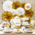 Gold and White Paper Fans Set Party Decoration for Glam Birthdays, Hen Parties and Weddings