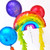 Rainbow birthday balloons for childrens birthday parties and colourful celebrations