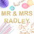 Personalised Mr and Mrs metallic glitter garland available in gold or silver for weddings, dessert tables or birthday parties