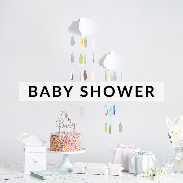 Stylish and modern baby shower decorations, supplies and balloons