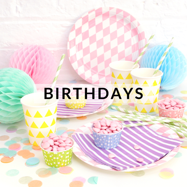 Stylish and modern birthday party supplies, decorations, tableware and balloons