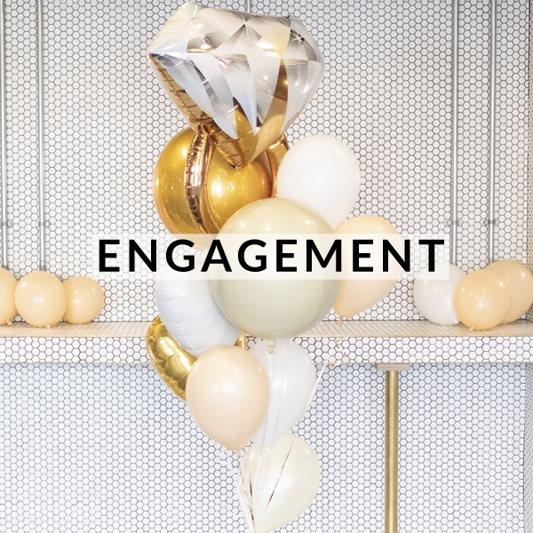 Stylish engagement balloons delivered to the couple inflated making the perfect gift!
