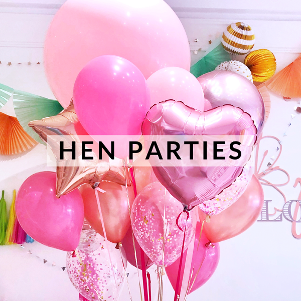 Stylish, fun and modern hen party decorations, balloons, sashes and accessories
