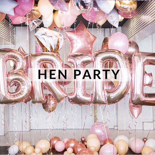 Stylish hen party balloons delivered inflated with helium for the most glam hen do or bridal shower