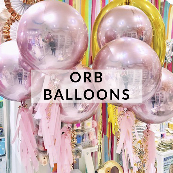 Rose gold, pastel, silver, gold and rainbow orb balloons for birthday parties and special occasions