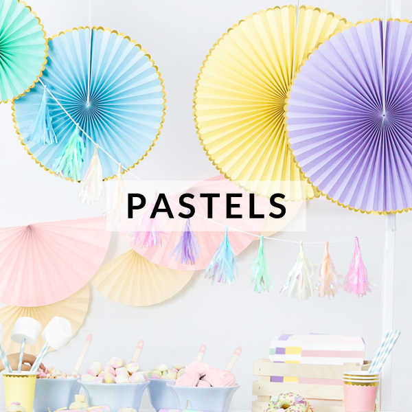 Pastel party supplies and decorations for kids birthday themed parties, sweet baby showers and stylish bridal showers