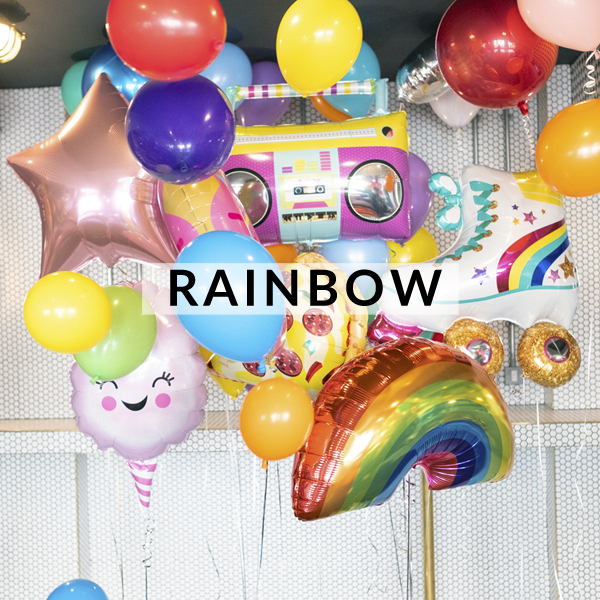 Rainbow birthday party helium balloons delivered inflated with helium for birthdays, gifts and celebrations