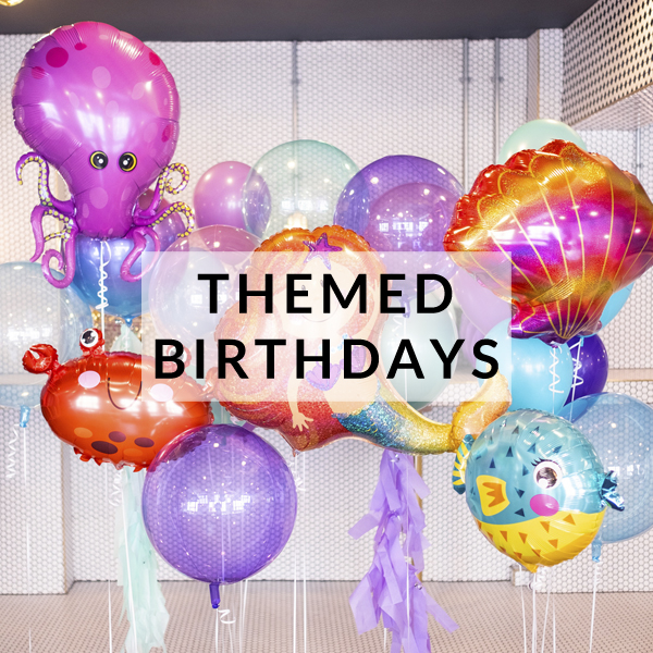 Themed character birthday party helium balloons delivered inflated with helium for dinosaur, mermaid, unicorn themed parties and celebrations!