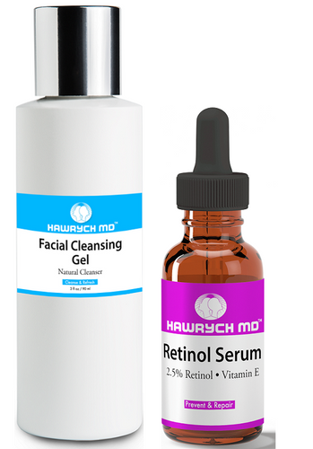 hawrych md Retinol serum facial cleansing gel set