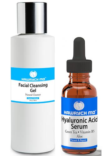 hawrych md hyaluronic acid serum facial cleansing gel set