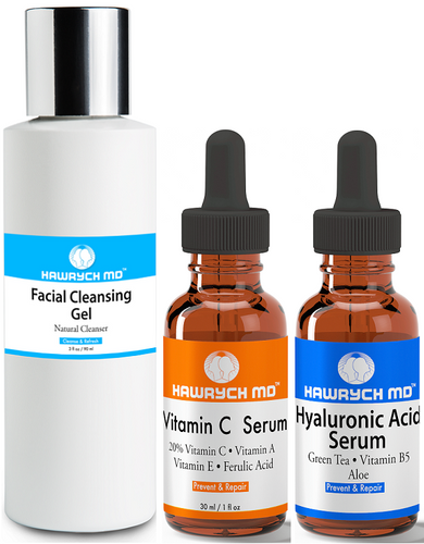 hawrych md vitamin c  hyaluronic acid serum facial cleansing gel set