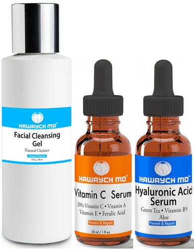 hawrych md vitamin c  hyaluronic acid serum facial cleansing gel set