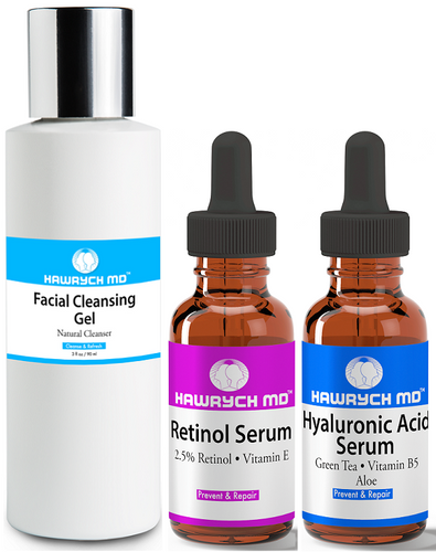 hawrych md retinol serum hyaluronic acid serums facial cleansing gel