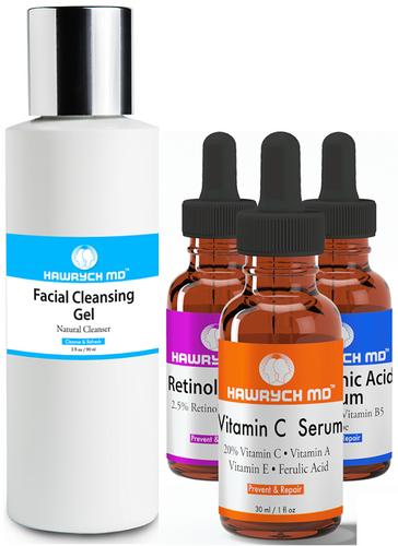 hawrych md vitamin c retinol hyaluronic acid  serum facial cleansing gel set