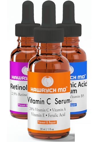hawrych md vitamin c serum retinol serum hyaluronic acid  serum set
