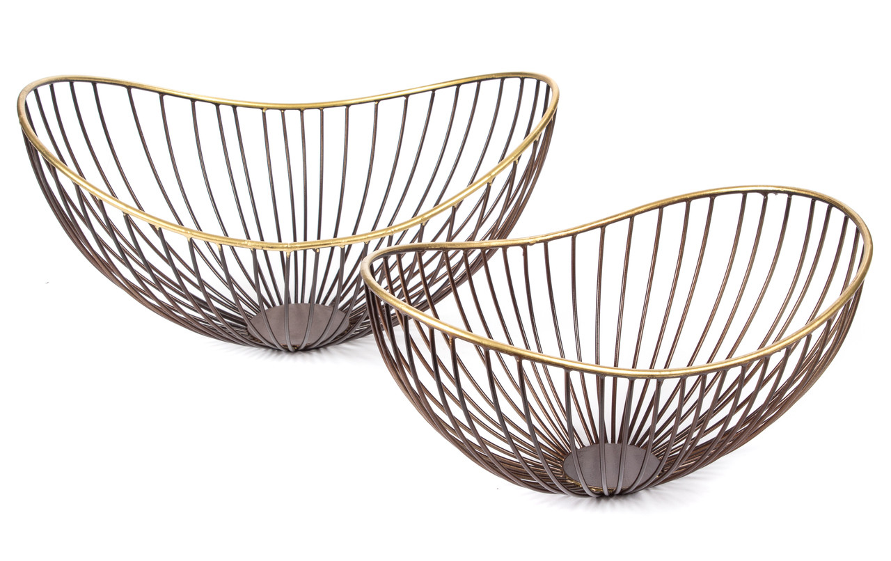 Basket Bowl Wire Large Small Decorative Home Decor Accent Accessory Bronze Gold Metal Set 2 Two