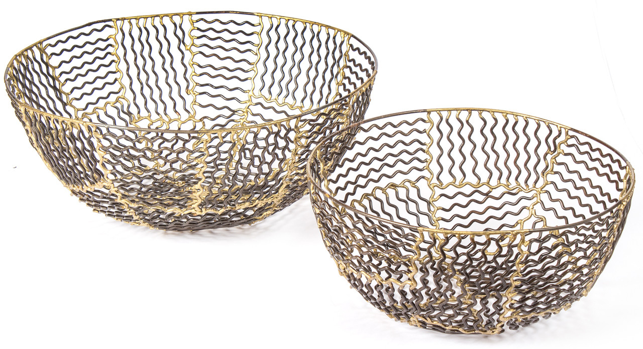 RED FIG HOME Decorative Metal Wire Set of 2 Bronze Gold Finish Wave Design Decor Accent Table Centerpiece Fruit Bowls