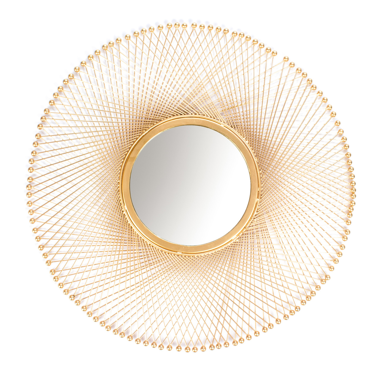 Red Fig Home Wall Mirror Décor Decorative Handcrafted Gold Metal Wire Frame Small Round Mounted Mirror For Hallway Bedroom Bathroom Living Room