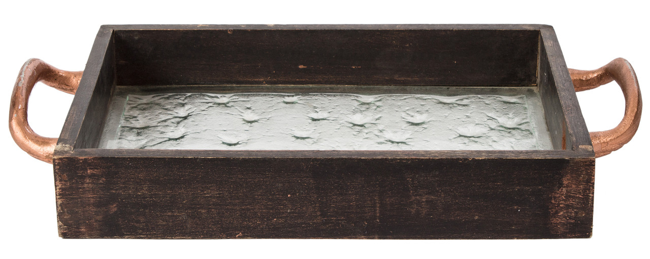 Tray Decorative Decor Home Accent Wood Wooden Handles Serving Coffee Table Jewelry Trinket Large Black Glass