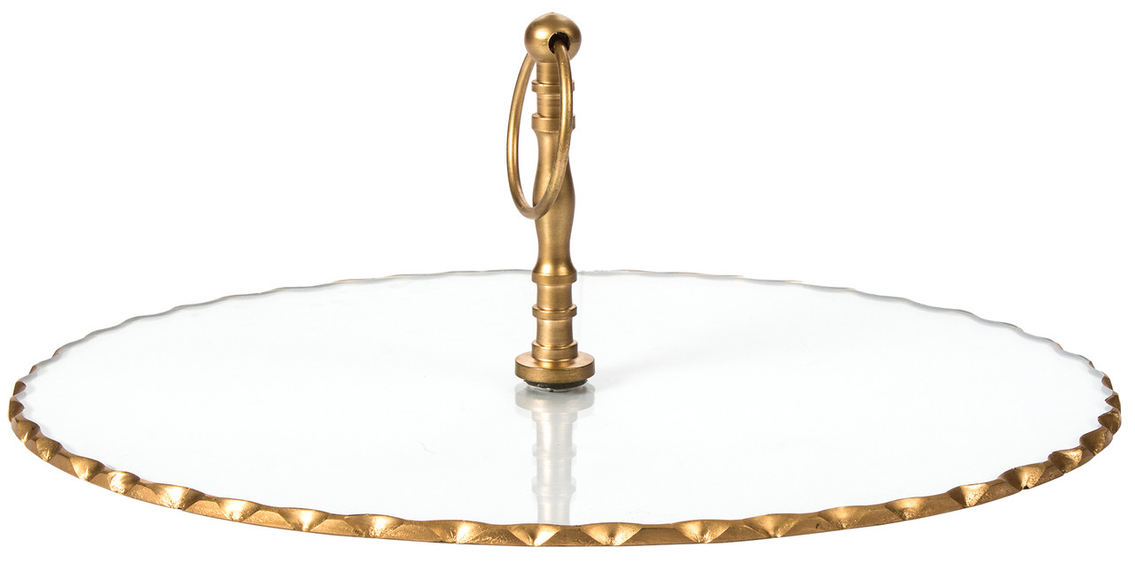 Red Fig Home Single Tier Cake Stand Clear Glass Oval Serving Tray Platter Golden Rod Edges Use For Parties Weddings Holidays To Display Cupcakes Dessert Appetizers Cheese Hors D Oeuvres