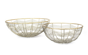 basket bowl wire large small decorative home décor accent accessory zinc gold metal tin big display iron round table centerpiece fruit bread produce mail sink shelf desk housewarming gift vegetable over cabinet kitchen floral flower set of 2 two
