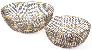 basket bowl wire large small decorative home décor accent accessory bronze gold metal set 2 two tin big gold display iron round table centerpiece fruit bread produce mail sink shelf desk housewarming gift vegetable kitchen floral flower