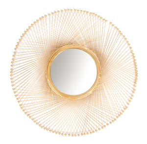 mirror wall home décor mounted wall-mounted round large gold framed big hallway decorative accent hanging hall centerpiece shabby chic boho bed tin iron metal chrome rustic living room modern bathroom